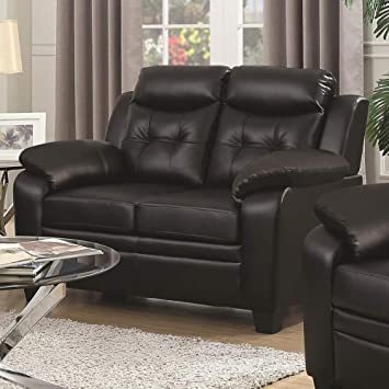 Tremendous Benjara Leatherette Loveseat With Pillow Headrest And Armrest Black Andrewgaddart Wooden Chair Designs For Living Room Andrewgaddartcom