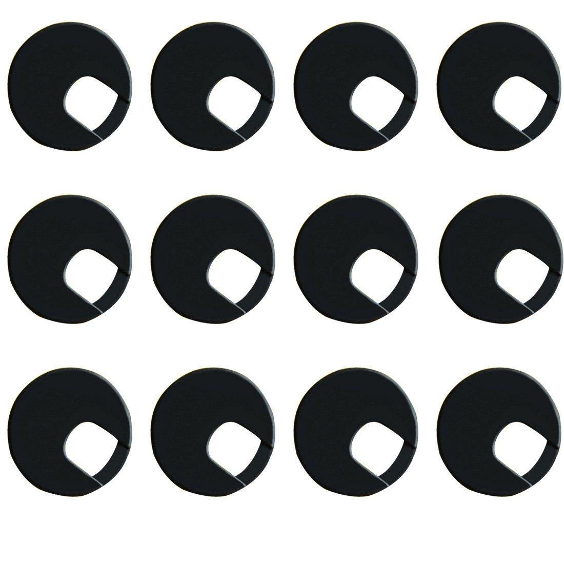 Black Computer Desk Table Counter Top Wire Plastic Grommets 50mm Dia 12Pcs Color Black Ted Lele