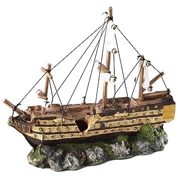 Aqua della Barco de Vela 37x12x28,5cm Decoración Adorno para Acuarios y Peces