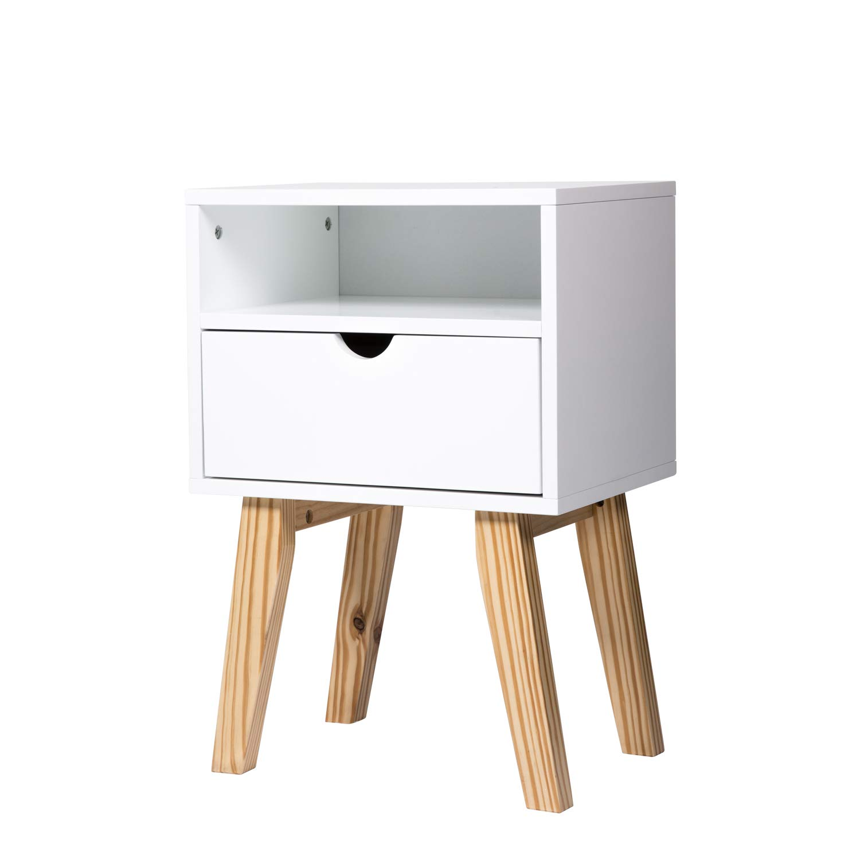 Kinbor Wood Nightstand Bedside End Table Bedroom Living Room Sofa Table with Drawer Cabinet Storage Furniture
