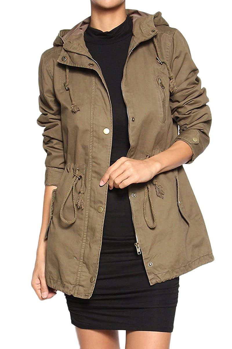 TheMogan Women's Junior Plus Size Versatile Military Anorak Parka Hoodie Jacket IMJ1527_OGN_83X