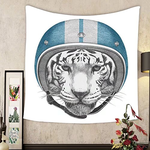 Grace Little Custom tapestry portrait of tiger with helmet hand drawn illustration