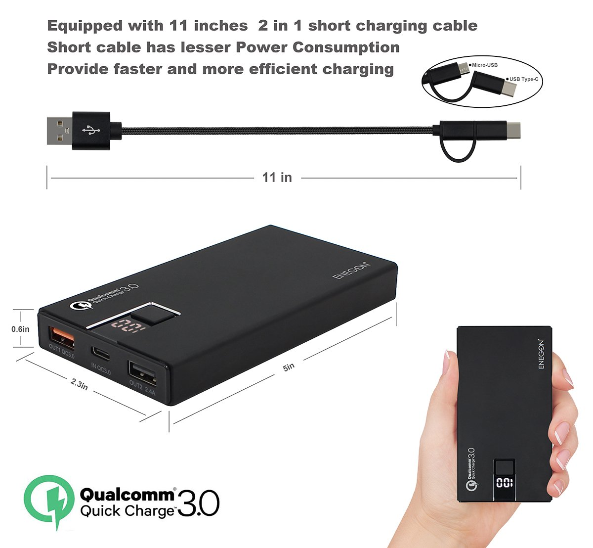 Qualcomm Quick Charge 3.0 ENEGON 10000mAh Portable Power Bank Bidirectional QC3.0 Input & Output, with Type-C Input, External Battery Charger for Galaxy S6 ...