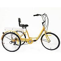 Xian 24 Pulgadas, Triciclo para Adultos, 6 velocidades, Bicicleta Trike Cruise, 3 Ruedas, Asiento y Respaldo
