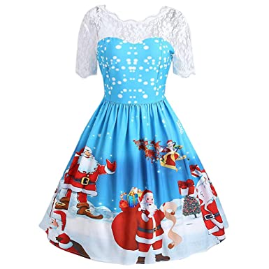 Christmas Series Dress-Women Merry Christmas Santa Claus Print Vintage Lace Evening Party Dress at Amazon Womens Clothing store: