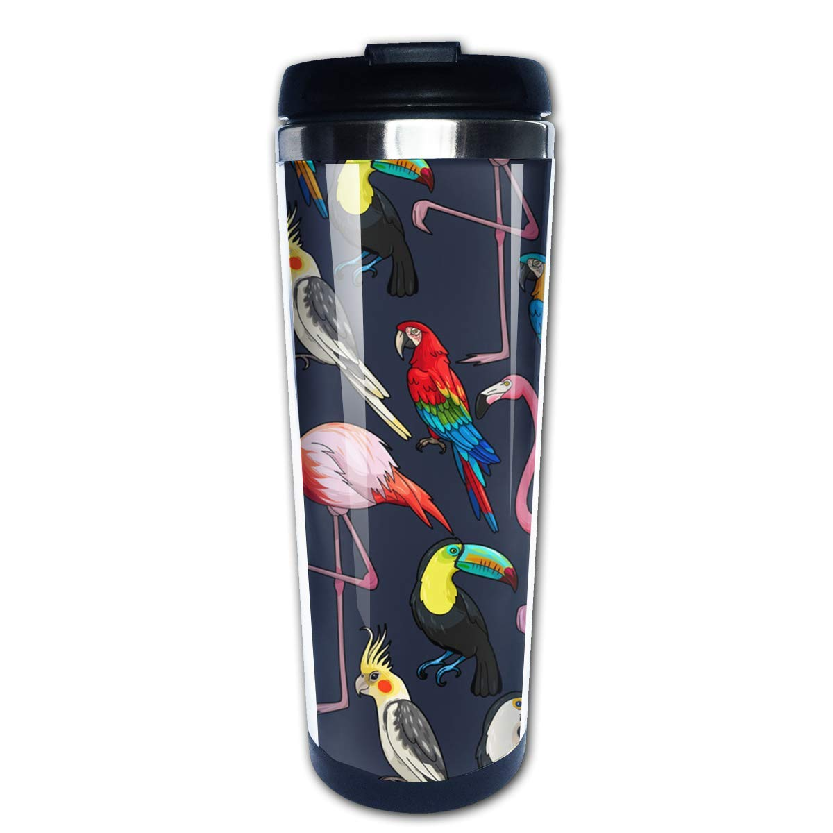 Flamingo and Parrot Coffee Mug Leakproof Insulated Thermos Cup ...