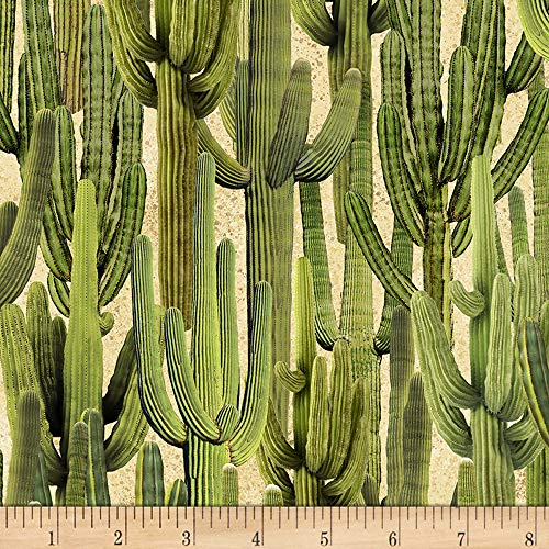 Timeless Treasures Desert Trip Saguaro Cactus Fabric, Sand, Fabric By The Yard ()