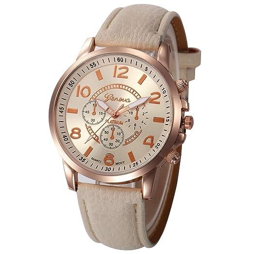 Reloj De Mujer Damas Casuales Damas De Cuero De Imitación De Cuarzo Analógico Reloj De Pulsera Bg: Amazon.es: Relojes