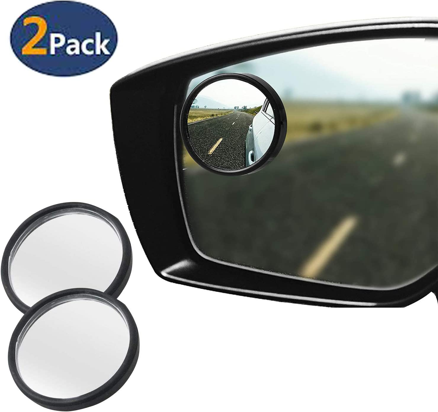 Pack of 2 MR1 Blind Spot Mirror for Car 2 Round Black Frame Waterproof HD Glass Convex Rear View Mirror Self-Adhesive for Car SUV Trucks and More