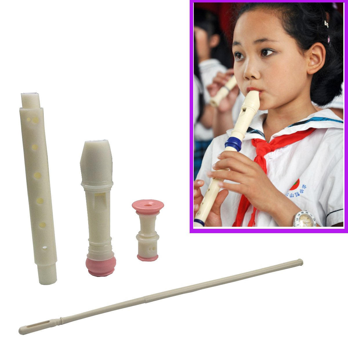 Jiuxun German Soprano Recorder 8 Hole, Key of C 3 Piece Music Flute Instrument with Cleaning Rod, Case Bag, Fingering Chart (Pink-White)