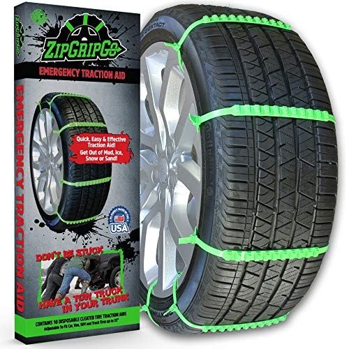 New! ZipGripGo Emergency Zip Tie Car Tire Traction Chains - Disposable Plastic Studded Cables for Snow, Ice, Sand or Mud. (Snow Zip Ties For Tires)