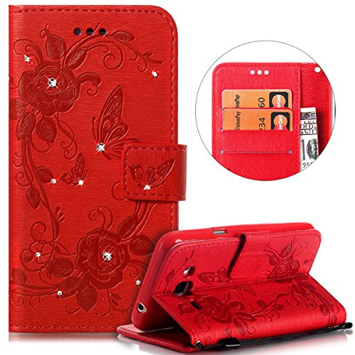 PHEZEN Galaxy J3 / J3 V Case,Galaxy Sky/Galaxy Sol Wallet Case,Galaxy Amp Prime/Express Prime PU Leather Case, Bling Crystal Rhinestone Diamond Embossed Flower Butterfly Flip Cover Card/Cash Slots ()