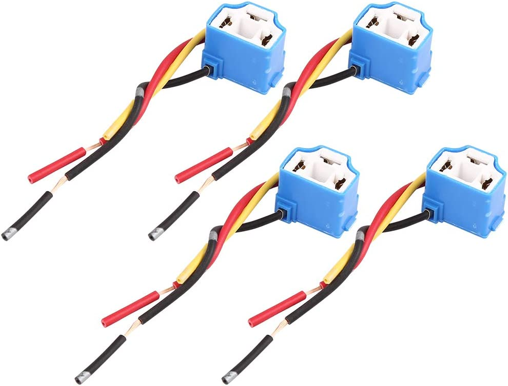 uxcell DC 12V Universal H4 Car Light Socket Headlight Wire Harness Extension Female Adapter 4pcs
