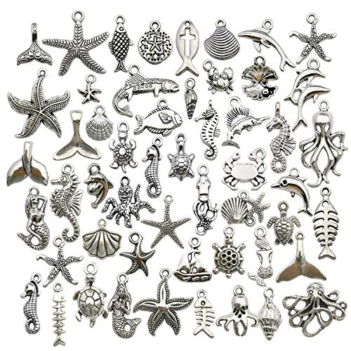 WOCRAFT 120g(100pcs) Antique Silver Sea Animals Marine Life Charms Pendants for Crafting, Jewelry Findings Making Accessory for DIY Necklace Bracelet M292
