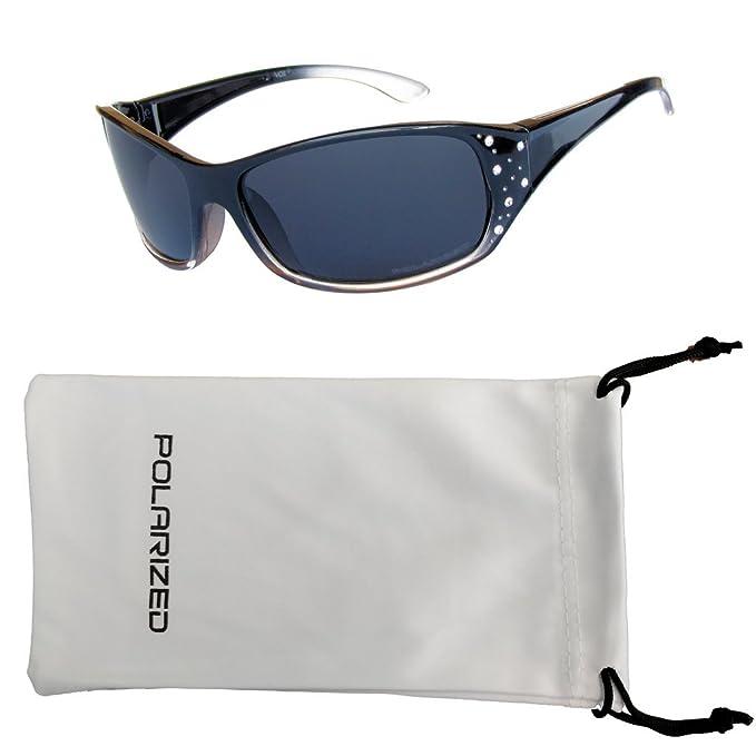 VOX Femenina Gafas de Sol Polarizadas Sport Diseñador Moda Diamantes de Imitación – Pastel marco rojo y negro - Lente de humo