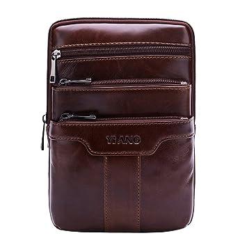 6929c3f5d24 Leathario Men s Leather Shoulder Bag Retro Messenger Bag Crossbody Bag 9.5  inch Ipad Bag Satchel Bag
