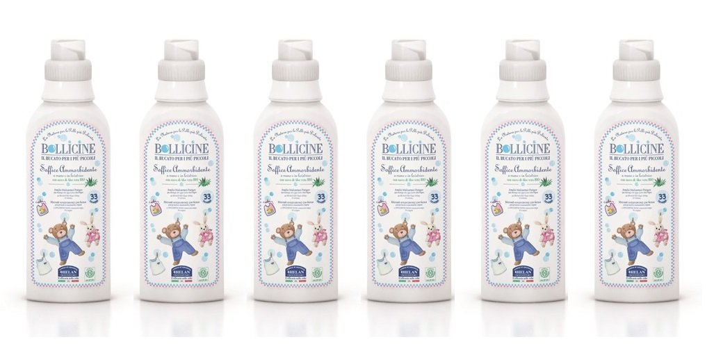 6 x Bollicine Baby Fabric Softener for Sensitive Skin Eco Organic Certified Dermatology Tested, Vegan Friendly, 500ml, 33 Loads Helan 5060425242756