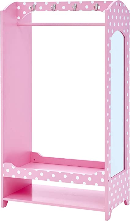 KidKraft 12510 Wooden Fashion Pretend Dress-Up Station Childrens Furniture with Storage and Mirror Pink