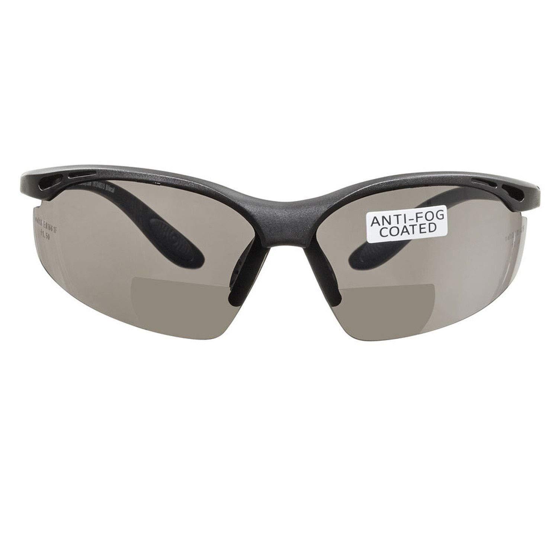 voltX 'CONSTRUCTOR' (AHUMADO/GRIS dioptría +2.5) Gafas de Seguridad de Lectura BIFOCALES que cumplen con la certificación CE EN166F / Gafas para Ciclismo incluye cuerda de seguridad - Reading Safety G