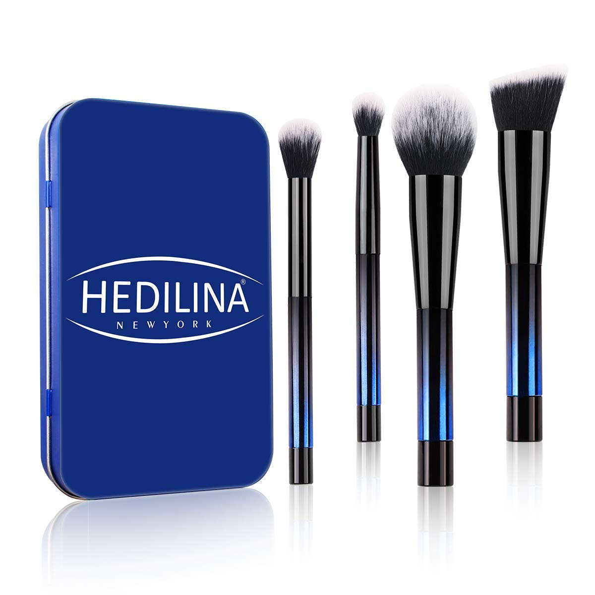 Travel Makeup Brush Set - HEDILINA 4 pcs Makeup Brushes Kit, Powder Brush, Foundation Brush, Eyeshadow Brushes, all in a Compact Box, Do Your Makeup Like a Pro Anytime! (Sapphire Blue)