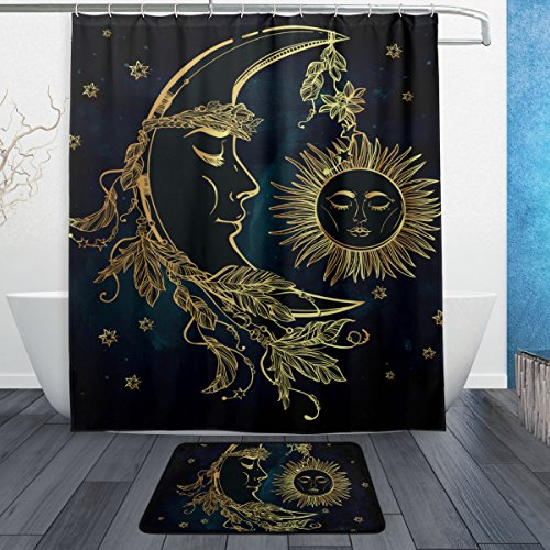Cheap La Random Moon And Sun Face Shower Curtain Curtains Set with Bath Rugs 60x72 Inch Waterproof Polyester for Bathroom for sale