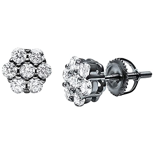 4a2c50908f8e5 8mm Cluster Earrings 7-Stone Round Cubic Zirconia 925 Sterling Silver  Screwback Flower Stud Earring
