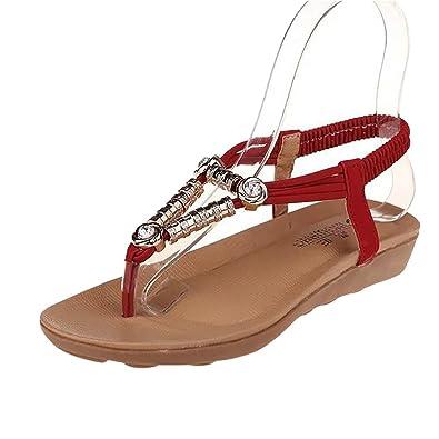 YOUJIA Damen Böhmen Flip Flop Schuhe Strass Wulstige Flache Thong Sandalen zCpGXUry7