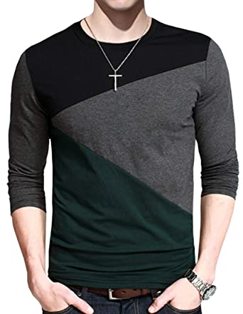 a2786089c FRTCV Mens Casual T-Shirts Fashion Slim Fit Long Sleeve Short Sleeve ...