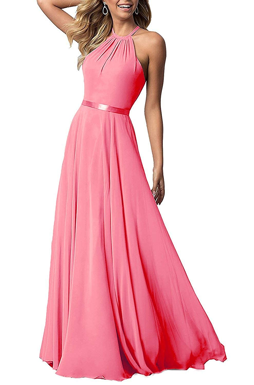 Coral ROMOO Sexy Halter Long Bridesmaid Dresses Open Back Aline Formal Evening Party Gowns