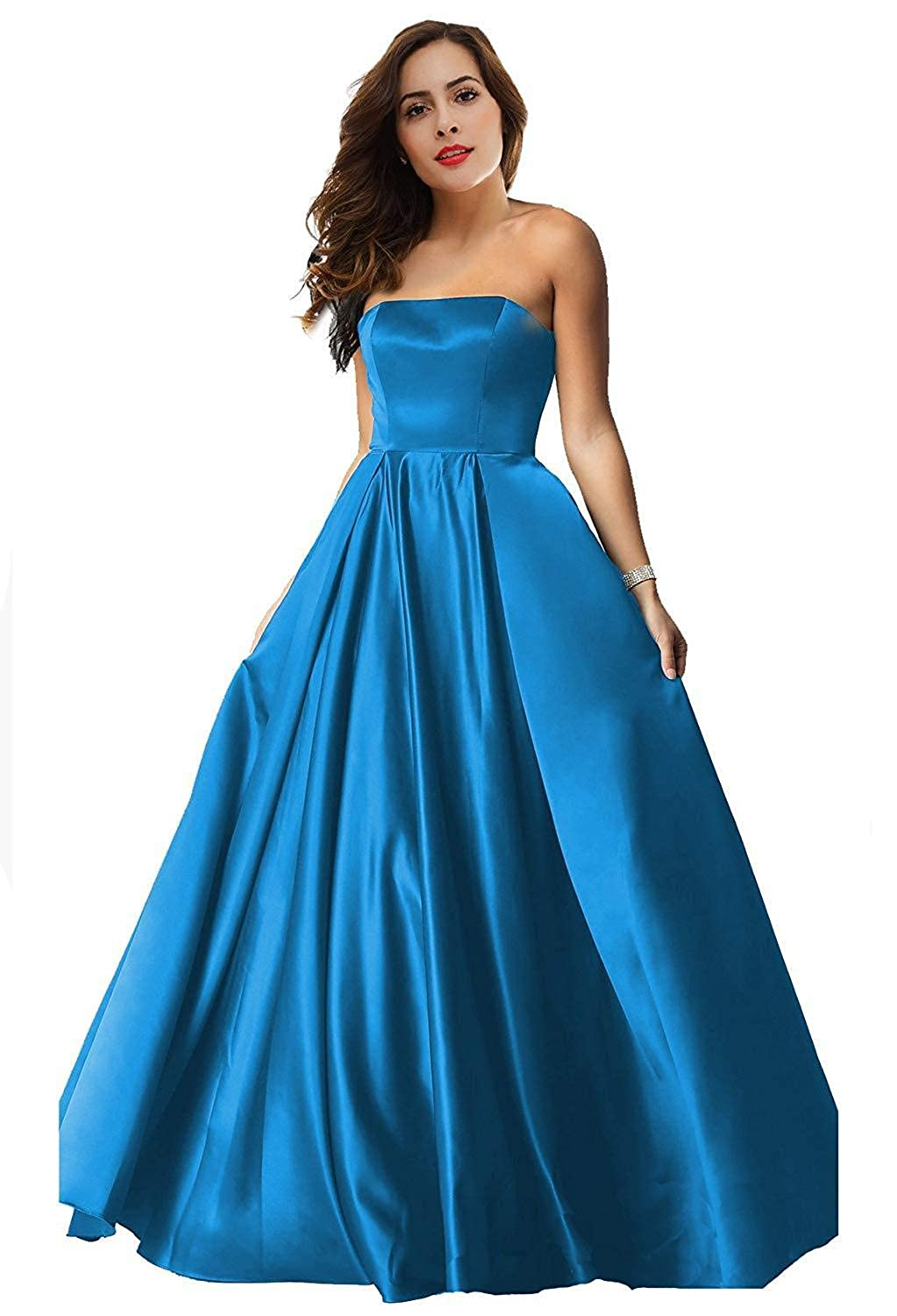 bluee Womens Satin Long Prom Dresses 2019 Floor Length Strapless Evening Gowns P179
