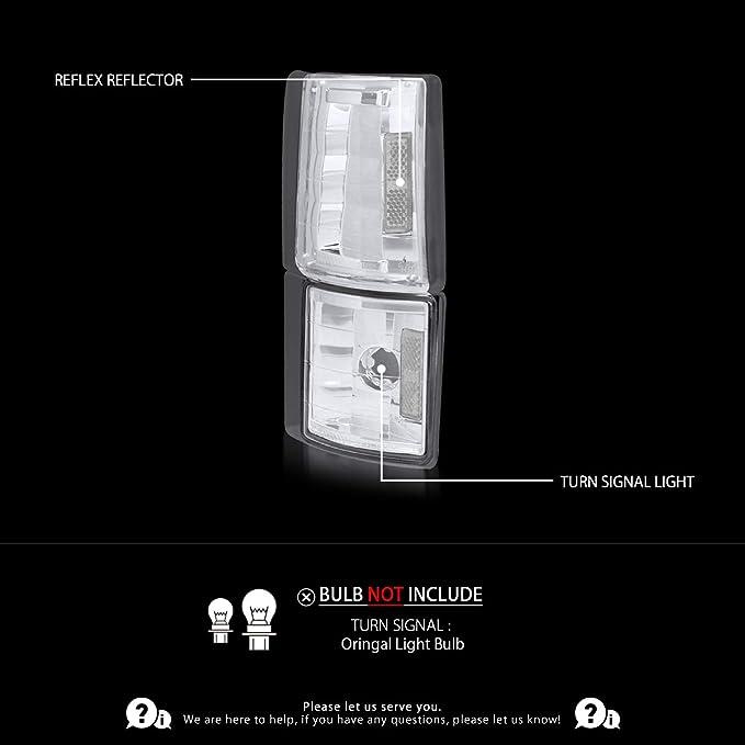 Autozensation For GMC C//K C10 Sierra Pickup Black Clear Corner Turn Signal Lights