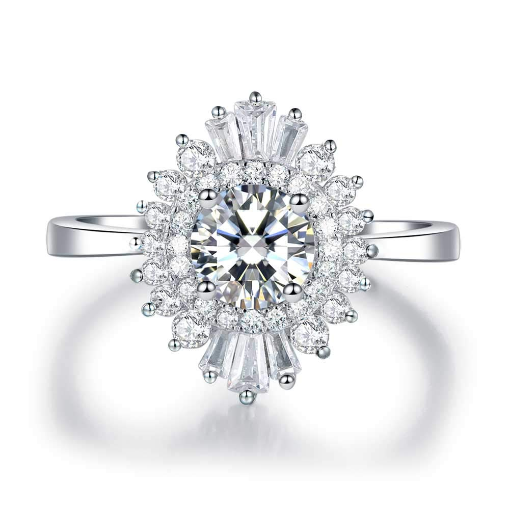 LESFD Round Cut Cubic Zirconia CZ Halo Art Deco Cluster Engagement Ring Promise (6) by LESFD