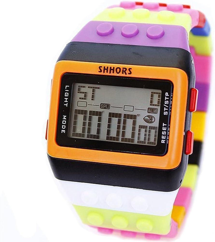 HWCOO Relojes SHHORS estudiante de la escuela media reloj reloj multifuncional arco iris electrónico al por mayor 30 metros reloj impermeable