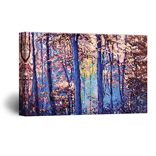 1d1f9d6b8c4 wall26 Canvas Wall Art - Abstract Oil Painting Style Colorful Forest -  Giclee Print Gallery Wrap