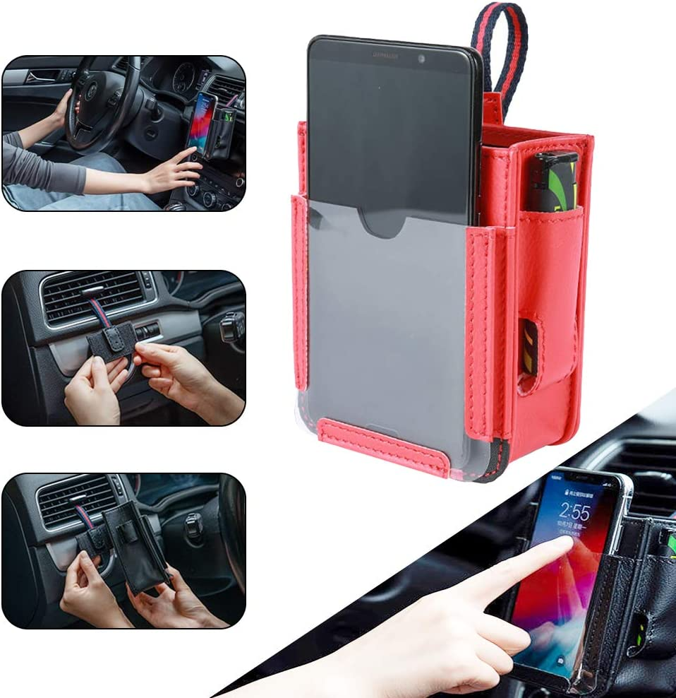 NEEDL CO Car Air Vent Storage Bag,Car Pocket Seat Organizer Pocket Multifunctional Car Pocket,Automotive Air Vent Mobile Phone Storage Pouch Small Bag for Cell Phone Pencil Charger /& Key