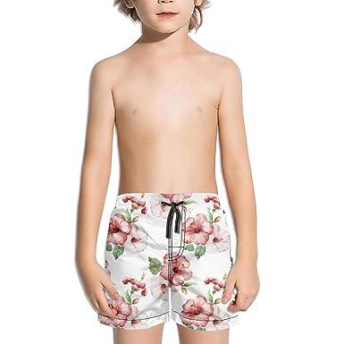 9b622377ec HailinED Boys Kids Pink Tropical Hawaiian Wild Flower Quick Dry Beach Swim  Trunk Adjustable Waist Swimsuit