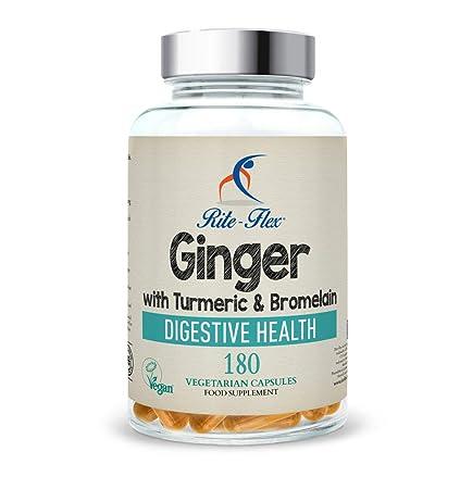 Cúrcuma con jengibre y bromelina, 180 cápsulas vegetarianas, fórmula botánica a