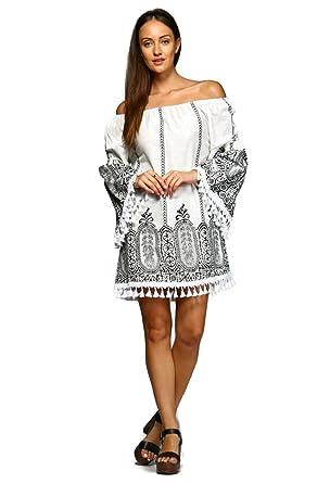 de817d3fb07 Velzera Women s Off the Shoulder Damask Fringe Tunic Mini Dress Boho Chic  Reg   Plus Size (1X