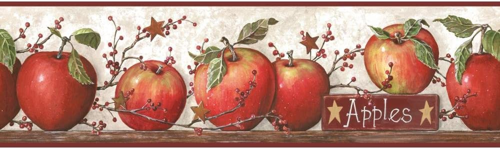 York Wallcoverings CB5557BD Hearts and Crafts-3 Apple Wallpaper Border, Off White/Red Burgundy