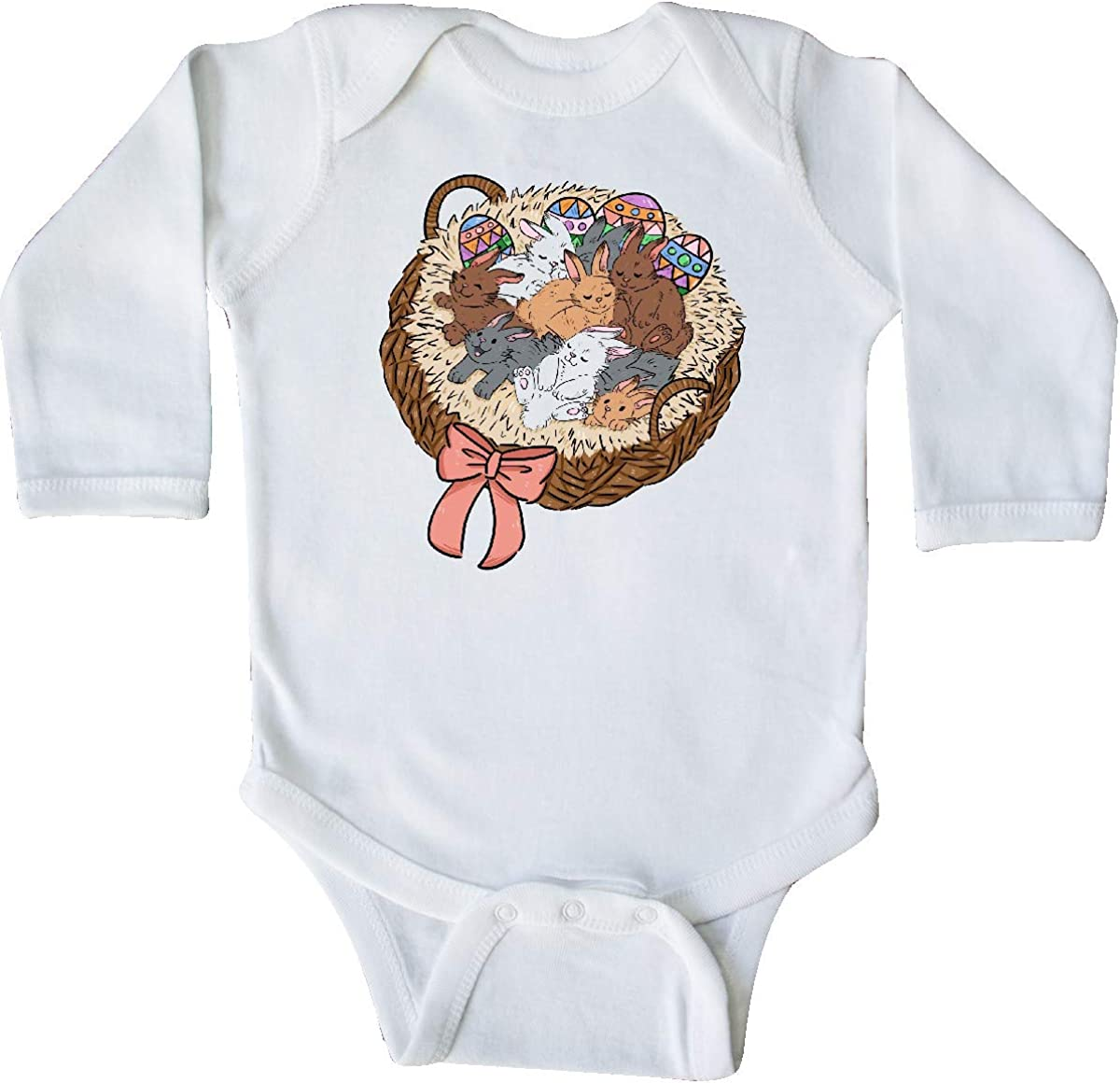 inktastic Cute Bunnies in an Easter Basket with Pink Bow Long Sleeve Creeper