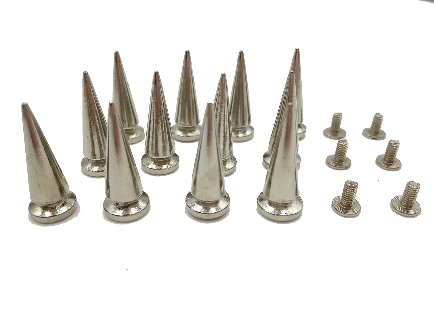 Inton Metal Spike Studs and Spikes Punk Studs for Leathercraft Rivet Bullet Leather Clothing Punk DIY Leather Crafts 20 PCS 25MM, Silvery