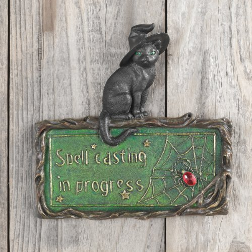 Black Cat Sign - Witch's Cat Spell-Casting Wall Sculpture - Halloween Decorations