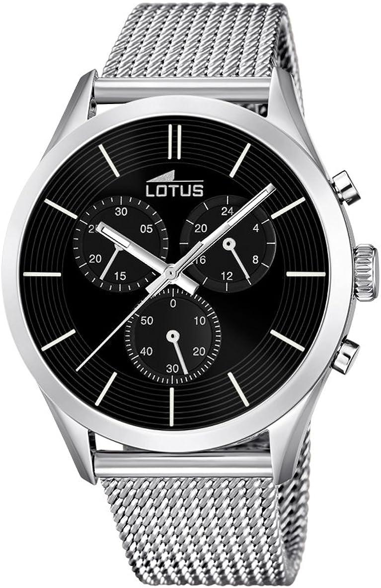 Lotus 18117/2 - Reloj para Hombre, Cuarzo, cronógrafo, cronógrafo, Correa de Acero Inoxidable, Color Plateado
