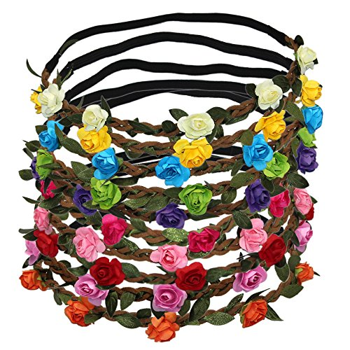 Multicolor Flower Crown Headbands Hair Band Accessories for Festival Party Wedding,10 Pcs