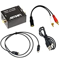 AUTOWT Adaptador Digital coaxial Toslink con Cable óptico, Cable de Audio de 3,5 mm y Cable de alimentación USB