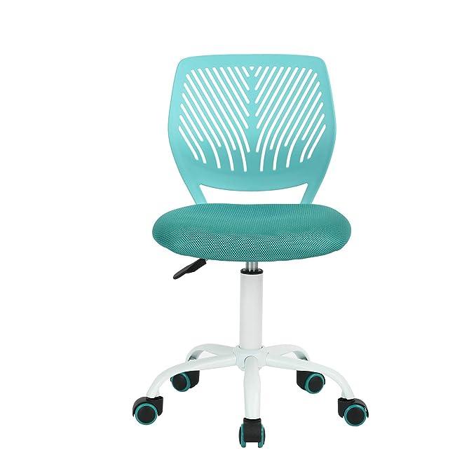 Carnation - Kindersitz Bürostuhl für Kinder aus Stoff Schwamm aus Stoff Verstellbar mit Rollen grün - türkis