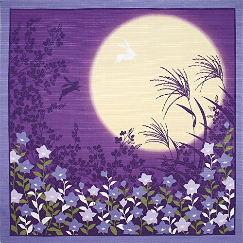 Furoshiki Small-size Flower-scene Wrapping-cloth Moonlit-night and Bell-flower 03
