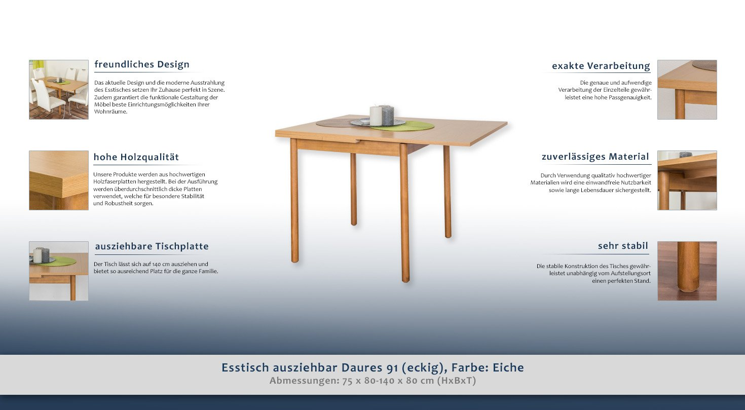 Daures extendible dining table (square); Colour: oak; Dimensions: 80 ...