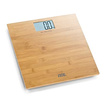 ADE Báscula de baño digital Martina BE925. Balanza personal electrónica hecha en 100% Bambu