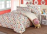 Beddinginn Colorful Animals Pattern Kids Bedding Set Organic Cotton 4-piece Kids Duvet Cover Sets (Twin)
